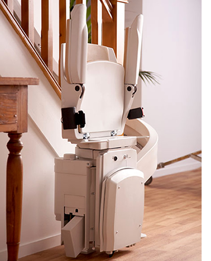 Bison 80 curved stairlift folded