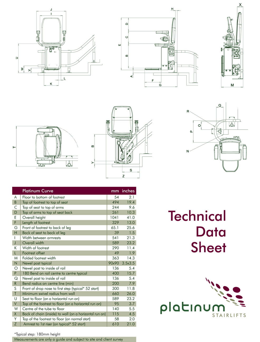 Platinum curved stairlift dimensions
