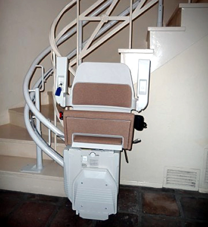 Refurbished twin tracked curved stairlift