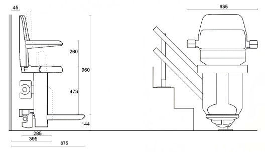 Refurbished twin tracked curved stairlift dimensions
