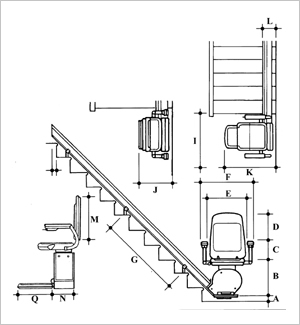 Bison refurbished straight stairlift dimensions